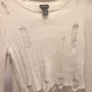 Rue 21 cropped distressed sweater